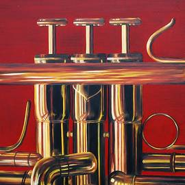 Trumpet In Red by Emily Page