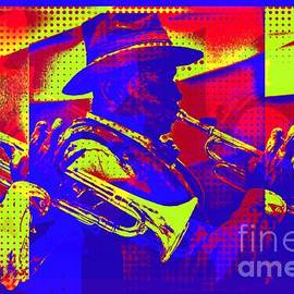 Trumpet player pop-art by Tatiana Travelways