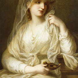 Tuccia, the Vestial Virgin, three quarter length, holding a lamp - Angelica Kauffmann