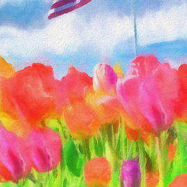 Dan Sproul - Tulips And American Flag
