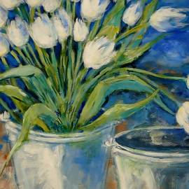 Cathy MONNIER - White Tulips And Buckets 2