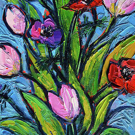 Mona Edulesco - TULIPS AND POPPIES - impasto palette knife oil painting