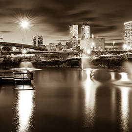 Gregory Ballos - Tulsa Oklahoma City Skyline - Sepia Edition