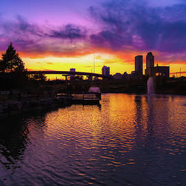 Tulsa Oklahoma Skyline on Fire by Gregory Ballos
