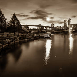Gregory Ballos - Tulsa Skyline at Dusk - Sepia Edition from Centennial Park 1x1