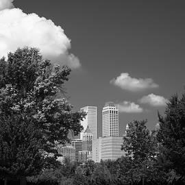 Gregory Ballos - Tulsa Skyline Beyond the Trees Black and White