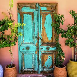 Turquoise Door In Katakolon by Gary Karlsen