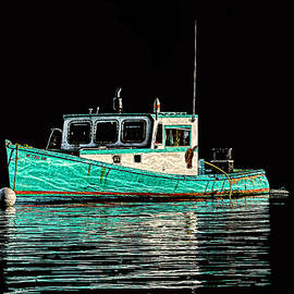 Marty Saccone - Turquoise Lobster Boat At Mooring