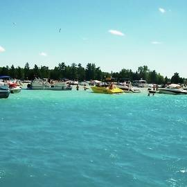 Turquoise Waters At The Torch Lake Sandbar by Michelle Calkins