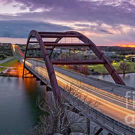 Twilight Panorama of PennyBacker Bridge 360 over Lake Austin - Texas Hill Country by Silvio Ligutti