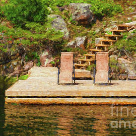 Les Palenik - Two chairs on the dock  painterly