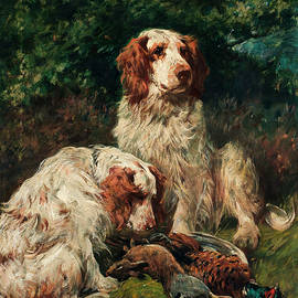 Two Clumber Spaniels with game in a landscape - John Emms