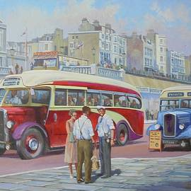 Mike Jeffries - Two coaches on Brighton seafront.
