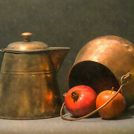Frank Wilson - Two Copper Pots Pomegranate And An Apple
