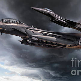 Two fighter jets close up in storm clouds by Simon Bratt Photography LRPS