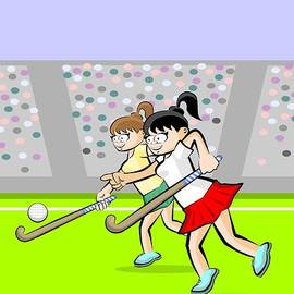 Two girls playing grass hockey in an exciting game in a stadium  by Daniel Ghioldi