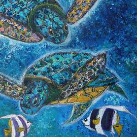 Two Green Sea Turtles  Having Fun by Jean L Fassina