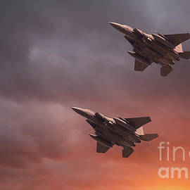 Two low flying F-15E Strike Eagles at sunset by Simon Bratt Photography LRPS
