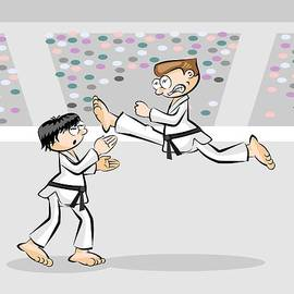 Two men competing in a karate tournament by Daniel Ghioldi