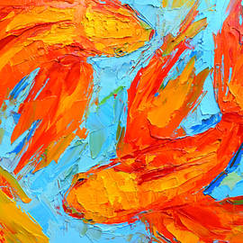 Two Orange Koi Fish - Modern Impressionist Palette Knife - Yin Yang - Piscis by Patricia Awapara