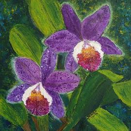 Jean L Fassina - Two Purple Cattleyas Orchids