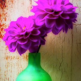 Two Purple Dahlias In Green Vase - Garry Gay