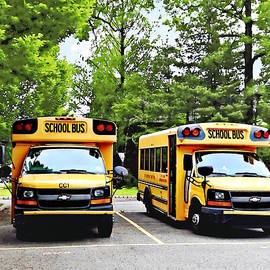 Two Yellow School Buses by Susan Savad