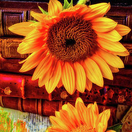 Two Yellow Sunflowers With Books - Garry Gay