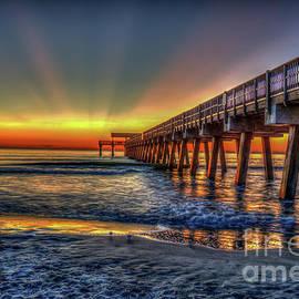 Reid Callaway - Red Sunrise Tybee Island Pier Seascape Art