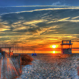 Tybee Island Sunrise.....by Reid Callaway Life Guard Sled Sand Dune Fences Seascape Art by Reid Callaway