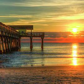 Tybee Island Pier Panorama Georgia Sunrise Beach Art by Reid Callaway