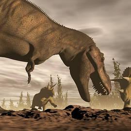 Tyrannosaurus roaring at triceratops - 3D render by Elenarts - Elena Duvernay Digital Art