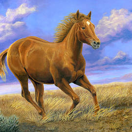 Quarter Horse Running, Galloping Horse, Equine Painting, Animal, Nature, Realism, Home Decor, Gift