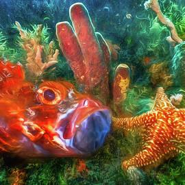 Debra and Dave Vanderlaan - Under the Sea at the Reef Watercolor Painting