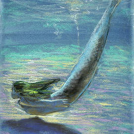 Vali Irina Ciobanu - Under water.Mermaid painting .Naiada. Original pastel on paper