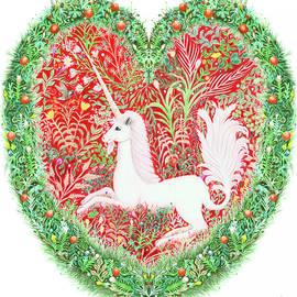 Unicorn Heart With Millefleurs by Lise Winne