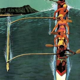 United Air Lines to Hawaii - Riding With Outrigger - Retro travel Poster - Vintage Poster - Studio Grafiikka