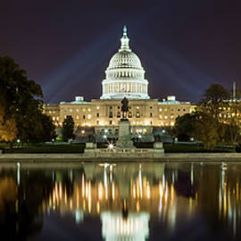 Us Capitol Night Panorama by Val Black Russian Tourchin