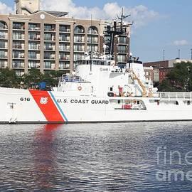 Us Coast Guard On Cape Fear River by John Telfer