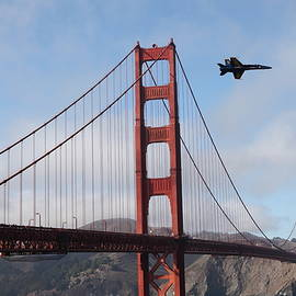 Wingsdomain Art and Photography - US Navy Blue Angels Crossing The San Francisco Golden Gate Bridge - 5D18926