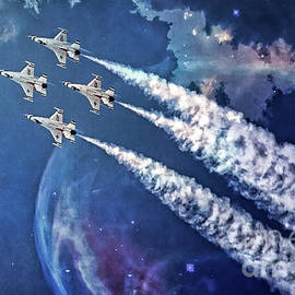 Usaf Thunderbirds Diamond Formation by Mary Lou Chmura