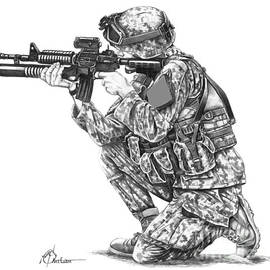U.S.Marine Training drawing by Murphy Elliott