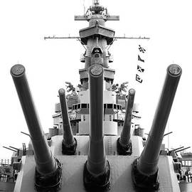 USS Alabama Battleship Guns Tower and Flags Mobile Alabama Black and White