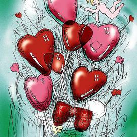 Valentine Balloons With Cherub by Genevieve Esson