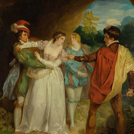 Valentine rescuing Silvia from Proteus, from Shakespeare