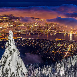 Vancouver City twilight from Grouse Mountain by Pierre Leclerc Photography