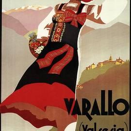 Varallo, Valsesia, Italy - Woman in Traditional Dress - Retro travel Poster - Vintage Poster - Studio Grafiikka