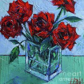 VELVET ROSES - impasto palette knife oil painting by Mona Edulesco