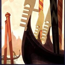 Venezia, Italy - Prows of Gondolas on a Canal in Venice - Retro travel Poster - Vintage Poster - Studio Grafiikka