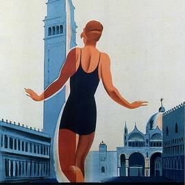 Venezia Lido - Venice, Italy - Retro travel Poster - Vintage Poster - Studio Grafiikka